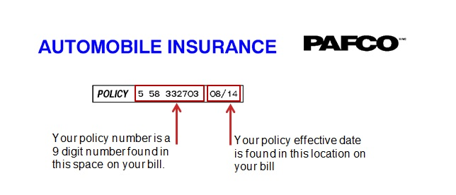 Your policy number is the first 9 digit number found at the top of your bill. Your policy effective date is the following 4 digits that follow.